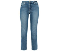 Le High Cropped Faded High-rise Straight-leg Jeans Light Denim  5