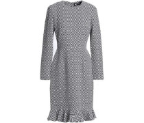 Fluted cotton-blend jacquard dress