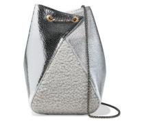 Woman Mani Faux Shearling-paneled Metallic Textured-leather Bucket Bag Silver