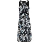 Bow-embellished Floral-print Cloqué Dress Black