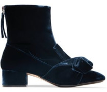 Knotted Velvet Ankle Boots Midnight Blue