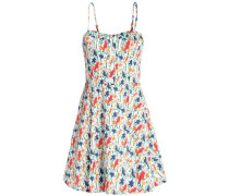 Pleated floral-print cotton mini dress