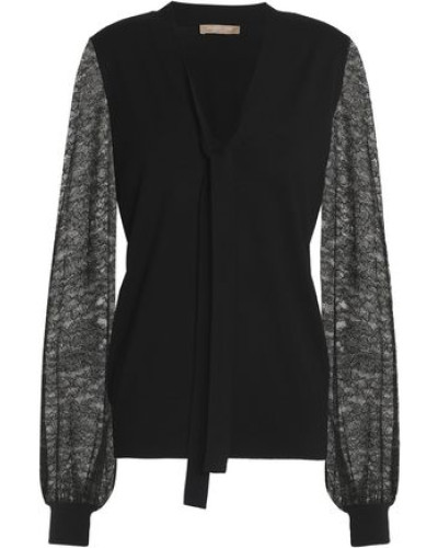Pussy-bow lace-paneled merino wool sweater