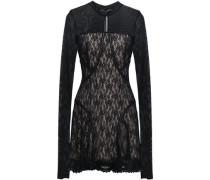 Woman Ruffled Tulle And Lace-paneled Mini Dress Black