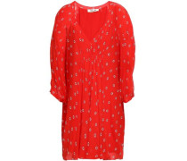 Gathered Printed Silk-chiffon Mini Dress Red