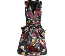 Bow-embellished floral-print satin dress