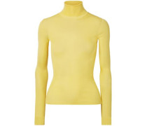 Ribbed Silk Turtleneck Sweater Pastel Yellow