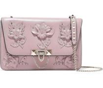 Floral-appliquéd Leather Shoulder Bag Lilac Size --