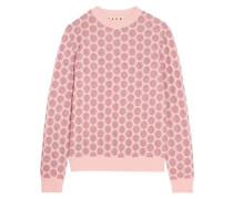 Metallic jacquard-knit sweater