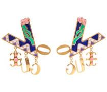 Gold-tone Enamel Earrings Indigo Size --