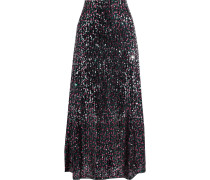 Lazer Sequined Tulle Maxi Skirt
