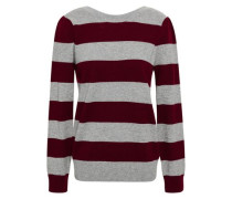 Striped Wool And Cashmere-blend Sweater Gray
