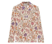 Alina Ruffle-trimmed Floral-print Crepe De Chine Shirt Cream