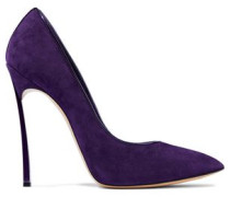 Patent leather-trimmed suede pumps