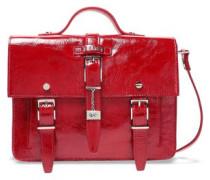 Buckle-embellished Crinkled Patent-leather Shoulder Bag Red Size --