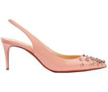 Drama 70 Studded Patent-leather Slingback Pumps Antique Rose