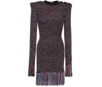Woman Button-embellished Fringe-trimmed Knitted Mini Dress Black