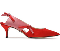 Woman Knotted Cutout Two-tone Satin Slingback Pumps Red
