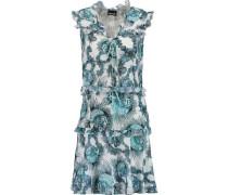 Ruffled Printed Chiffon Mini Dress Blue