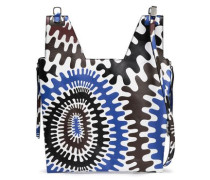 Zip-detailed Printed Leather Tote Blue Size --