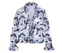 Woman Chandana Ruffled Floral-print Burnout Crepe De Chine Blouse Lilac