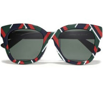 Woman D-frame Printed Acetate Sunglasses Dark Green
