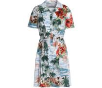 Embellished Printed Cotton-poplin Mini Shirt Dress Sky Blue