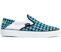 Houndstooth Canvas Slip-on Sneakers Turquoise
