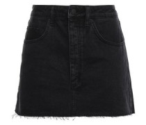 Frayed Denim Mini Skirt Black