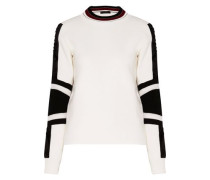 Kaydence faux fur-trimmed two-tone wool sweater