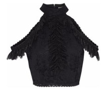 Regina Cold-shoulder Cropped Ruffled Lace Top Black