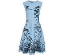 Woman Scalloped Floral-jacquard Dress Light Blue