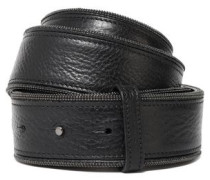 Bead-embellished pebbled-leather belt