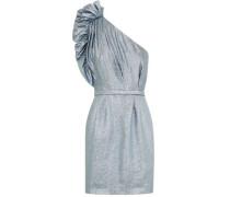 One-shoulder Ruffled Lamé Mini Dress Sky Blue