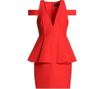 Cold-shoulder stretch-cady peplum mini dress