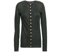 Button-embellished Mélange Ribbed Wool Top Forest Green