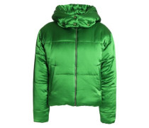Quilted Silk-satin Hooded Down Coat Bright Green Size 1