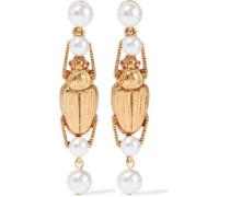 Gold-tone Faux Pearl Earrings Gold Size --