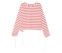 Woman Striped Cotton Top White