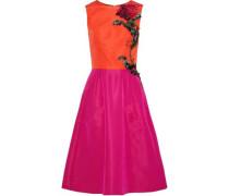 Flared Embellished Two-tone Silk-faille Dress Fuchsia Size 12