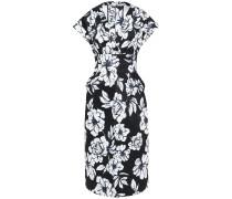 Woman Belted Floral-print Stretch Cotton-ottoman Midi Dress Black