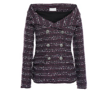 Woman Off-the-shoulder Double-breasted Tweed Jacket Purple