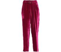 Belted Velvet Wide-leg Pants Fuchsia