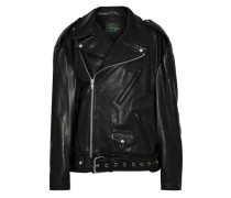 Oversized Leather Biker Jacket Black