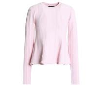Ribbed Stretch-knit Peplum Sweater Baby Pink