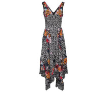 Printed Crepe De Chine Midi Dress Black
