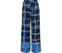 Printed Jacquard Wide-leg Pants Blue