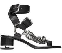 Jada Chain-trimmed Leather Sandals Black