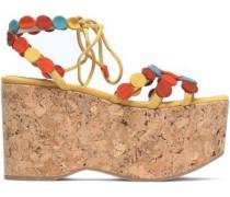 Azur appliquéd suede wedge sandals