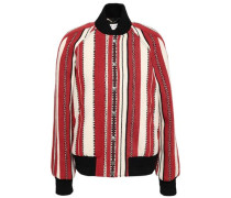 Striped Wool And Cotton-blend Bomber Jacket Red